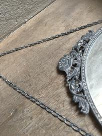 Metalen landelijke ronde spiegel spiegeltje rond grijs landelijk old look landelijk bric-à-brac brocant