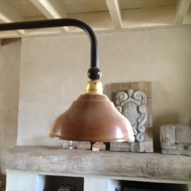 Koperen hanglamp 3 kappen tierlantijn stallamp model