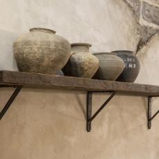 Stoere wandplank wandconsole smeedijzeren schapdrager metalen schapdragers inclusief oude plank plankdragers 140 cm landelijk industrieel