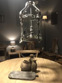 Grijs metalen hanglamp glas lantaarn landelijk stoer helder