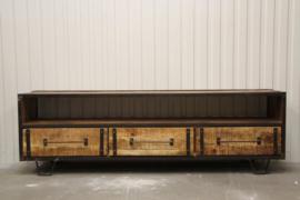 Stoer metalen houten metaal hout kast kastje tvmeubel tv-kastje ladenkast tvkast televisiemeubel televisiekast televisiekastje landelijk industrieel audiomeubel Sidetable