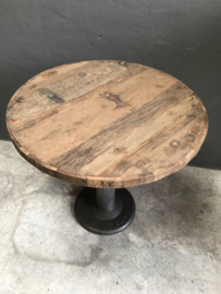 Eettafel industrieel landelijk tafel 80 x H76 cm rond tafel bistro terras cafe eetcafe industriele metalen voet