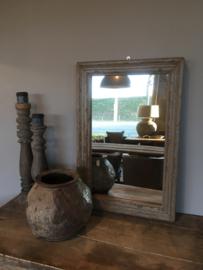 Prachtige oude houten spiegel 92 x 61 cm vergrijsd stoer landelijk sober