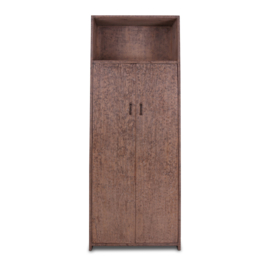 Grote oud houten dichte kast 2 deurs schap vak landelijk stoer industrieel 220 x 88 x 40 cm