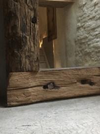 Stoere grove robuust houten sloophouten spiegel railway wagondelen landelijk stoer oud hout 90 x 80 cm