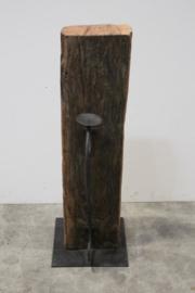Stoere robuuste vloerkandelaar 60 cm biels balk landelijk industrieel vintage robuust metalen kandelaar op grove oude houten balk