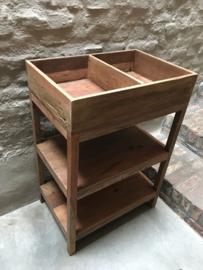 Oud teakhouten keukenrek kast schap rek gruttersbak landelijk vintage industrieel
