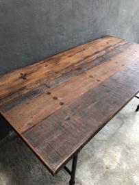 landelijke industriële eettafel tuintafel hout metaal klaptafel marktafel  werkbank werktafel 180 x 90 cm oud vintage stoer
