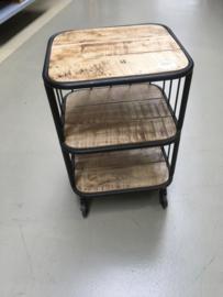 Stoer houten metalen trolley bakkerskar kar karretje 60 x 45 x 42 cm industrieel landelijk kastje kast ladenkast nachtkastjes ladekast nachtkastje nachtkastjes