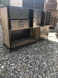 Zwart metalen kast kastje met houten blad dressoir locker 128 x 40 x H90 cm industrieel sidetable ladenkast