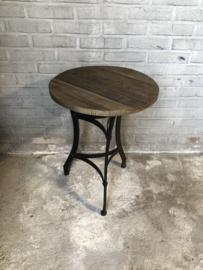 Industrieel landelijk tafeltje bijzettafeltje rond klein wijntafeltje mooi oud grof houten blad met metalen onderstel