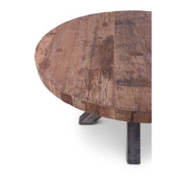 Prachtige grote houten ronde tafel teakhouten teakhout houten blad 160cm ijzeren onderstel landelijk stoer industrieel