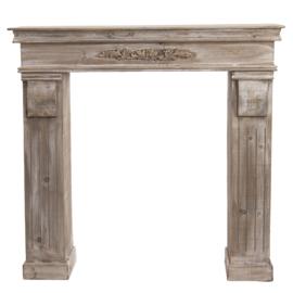 Mooie ( vergrijsd ) houten schouw voorzetschouw open haard kachel hout 100 x 22 x 99 cm landelijk