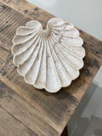 Prachtige marmeren hardstenen Lotus bloem blad schaal offerschaal landelijk stoer Ibiza stijl