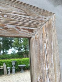Stoere naturel whitewash witte houten spiegel passpiegel 180 x 80 cm landelijk stoer industrieel