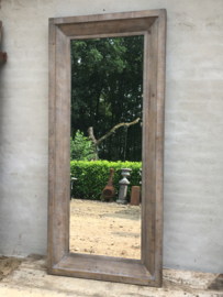 Stoere vergrijsd houten spiegel 200 x 90 cm landelijk stoer industrieel