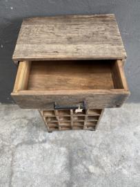 Grof truckwood railway houten kastje voor wijnflessen drank drankkastje wijnfleshouder landelijk stoer industrieel 95 x 45 x 30 cm