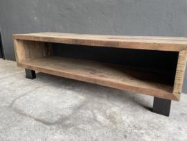 Stoer vergrijsd houten truckwood tv meubel televisie audio sideboard kast landelijk stoer industrieel dressoir sidetable 140 x 45 x 44 cm Bassano