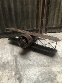 Gaaf groot metalen vliegtuig 67 x 53 x 27 cm  tweedekker decoratie landelijk bruin industrieel vintage