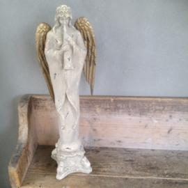 Groot beeld van engel met fluit landelijk brocant kerst