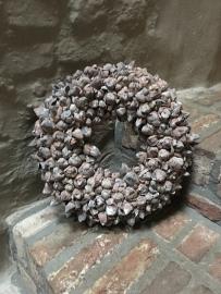 Coco fruit wreath 40 cm skin wash vergrijsde gedroogde krans vergrijsd