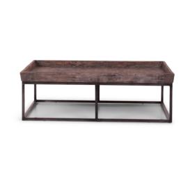 Prachtige stoere landelijke industriele salontafel bijzettafel tafel 120 x 70 cm metalen onderstel vergrijsd grijs houten blad