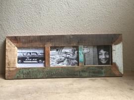 Sloophout sloophouten houten fotolijst triologie voor 3 foto´s vintage india landelijk
