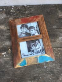 Stoere sloophouten  houten fotolijst lijstje duo twee foto's prent print foto landelijk print prent foto zwart wit robuust hout vintage industrieel stoer foto