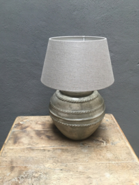 Lampenkap taupe beige lever taps ton  Lampekap 35-25-19 cm