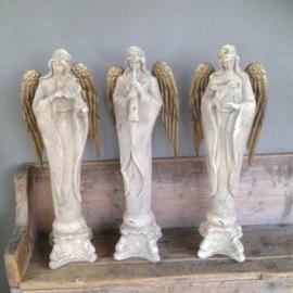 Prachtige engel met viool beeld landelijk brocant kerst
