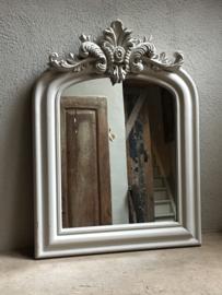Stoere beige crème zandkleur zand houten spiegel landelijk 150 cm shabby met kuif kuifspiegel Classic klassiek lifestyle