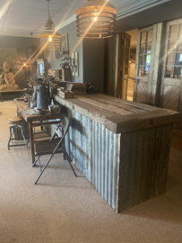 Oude metalen golfplaat lamberisering  70 x 70 cm  Wandpaneel stoer urban wanddecoratie industrieel landelijk grijs bruin