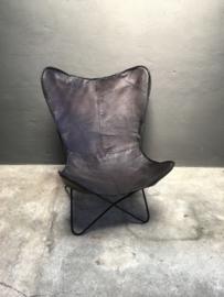 Gave zwart leren stoel fauteuil lounge vlinder butterfly vlinderstoel stoer industrieel vintage