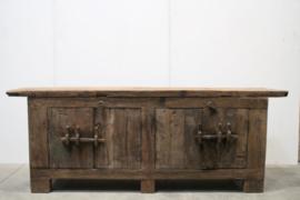 Stoere hardhouten truckwood kast kastje dressoir sidetable sideboard tvmeubel televisie kast houten oud hout commode landelijk stoer robuust 4 deurs