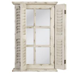 Stoere oude houten spiegel stalraam luikjes Louvre stalraamspiegel landelijk old look oude look doorgeschuurd oud hout metaal venster kozijn