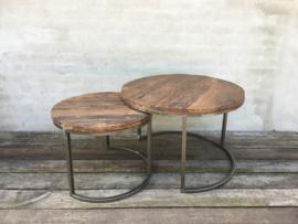 Set van 2 tafels tafeltjes tafel tafeltje rond 70 cm ronde bijzettafel salontafel bijzettafeltje railway hout landelijk industrieel vintage hout metaal