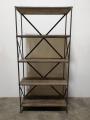 Metalen grote kast wandkast boekenkast legplanken schap rek industrieel 198 x 96 x 40 cm grijs hout metaal