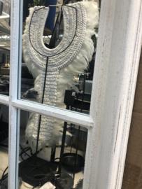 Grote witte houten spiegel in stalraam 150 x 100 cm stalraamspiegel landelijk industrieel kozijn venster grijs beige