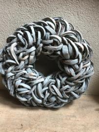 Grijze grijs grey Krans krul Coco cut wreath 55 cm black donkergrijs grijze landelijk stoer antraciet