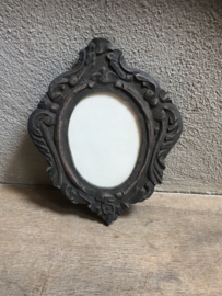 Houten fotolijst fotolijstje lijst lijstje ornament oeil de boeuf landelijk stoer grijs osseoog ossenoog
