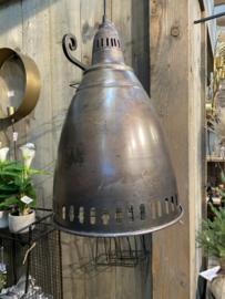 Stoere metalen hanglamp grijsbruin landelijk stoer industrieel vintage