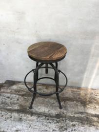 Industriele landelijke kruk barkruk eettafel hoogte stoer hout metaal industrieel landelijk vintage new urban