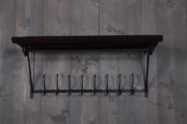 Landelijk smeedijzeren houten wandplank wandconcole kapstok donker hout wandkapstok hout rek schap plank