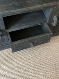 Stoer grijs antraciet mat zwart houten televisiemeubel tv-kast audio 160 x 45 x H60 cm dressoir kast Sidetable landelijk stoer