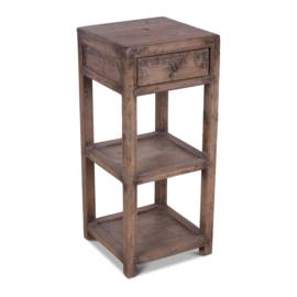 Oud vergrijsd houten tafeltje haltafeltje plantentafeltje hoog smal tafeltje 85 x 37 x 37 cm kastje landelijk stoer ladekastje