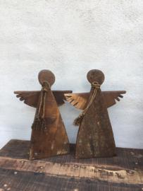 Houten engel kerst staand en hang  hout klein engeltje vintage landelijk stoer met touw