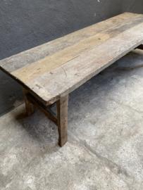 Landelijke vergrijsd houten salontafel tafel 150 x 50 x H46 cm