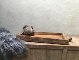 Grote oud houten trog mangelbak 103 cm bak schaal voedertrog stoer landelijk boerentrog oud hout robuust