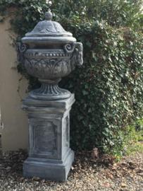 Mega Grote massief betonnen tuinvaas pot vaas bak urn met deksel kruik pot bloempot grijs bloemvaas bloembak beton massief