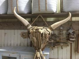 Groot Oud vergrijsd houten drijfhout drijfhouten driftwood kop hoofd buffel ossenkop gewei schedel koe rund vergrijsd hout  hoorns